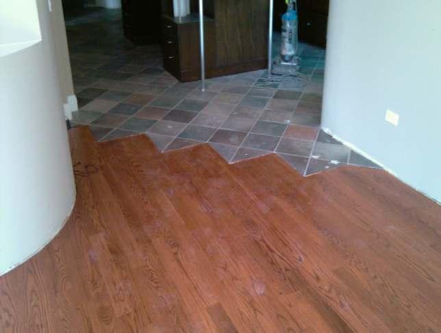 Half Wood Half Tile Kitchen Floor